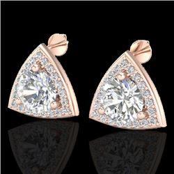 3 CTW Micro Pave Halo VS/SI Diamond Stud Earrings 14K Rose Gold - REF-819W5F - 20187