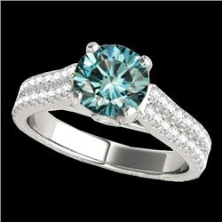 2.11 CTW Si Certified Fancy Blue Diamond Pave Ring 10K White Gold - REF-272W8F - 35469