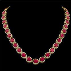 64.01 CTW Ruby & Diamond Halo Necklace 10K Yellow Gold - REF-785X8T - 41191