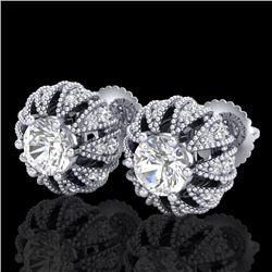 2.01 CTW VS/SI Diamond Art Deco Micro Pave Stud Earrings 18K White Gold - REF-272T8M - 36995