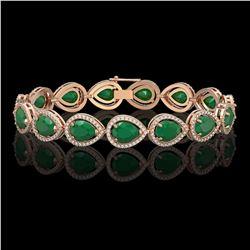 30.06 CTW Emerald & Diamond Halo Bracelet 10K Rose Gold - REF-393K3W - 41235