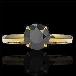 2 CTW Black VS/SI Diamond Designer Inspired Engagement Ring 18K Yellow Gold - REF-64K2W - 22216