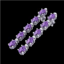 10.36 CTW Amethyst & VS/SI Certified Diamond Tennis Earrings 10K White Gold - REF-58H2A - 29385