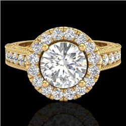 2.25 CTW Vintage Solitaire VS/SI Diamond Halo Ring 14K Yellow Gold - REF-541T8M - 21118