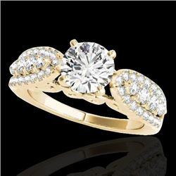 1.7 CTW H-SI/I Certified Diamond Solitaire Ring 10K Yellow Gold - REF-180M2H - 35261
