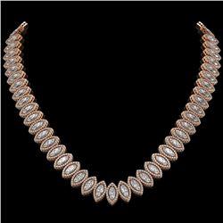 39.68 CTW Marquise Diamond Designer Necklace 18K Rose Gold - REF-7251T5M - 42777