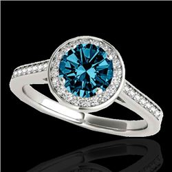 1.33 CTW Si Certified Fancy Blue Diamond Solitaire Halo Ring 10K White Gold - REF-174M5H - 33513