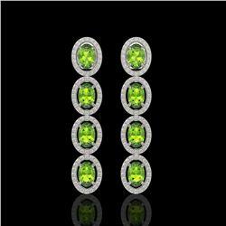 5.88 CTW Peridot & Diamond Halo Earrings 10K White Gold - REF-112T5M - 40529