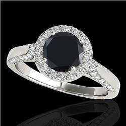 1.5 CTW Certified VS Black Diamond Solitaire Halo Ring 10K White Gold - REF-73K6W - 33565