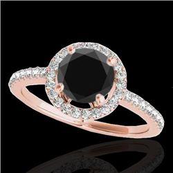 1.4 CTW Certified VS Black Diamond Solitaire Halo Ring 10K Rose Gold - REF-61F8N - 34100