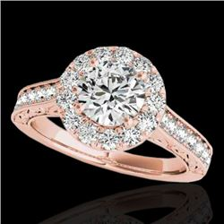 2.22 CTW H-SI/I Certified Diamond Solitaire Halo Ring 10K Rose Gold - REF-360A2X - 33734