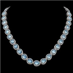 41.6 CTW Aquamarine & Diamond Halo Necklace 10K White Gold - REF-896Y4K - 41210