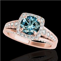 2 CTW Si Certified Blue Diamond Solitaire Halo Ring 10K Rose Gold - REF-247N3Y - 34325