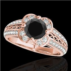 1.5 CTW Certified VS Black Diamond Solitaire Halo Ring 10K Rose Gold - REF-76W8F - 34260