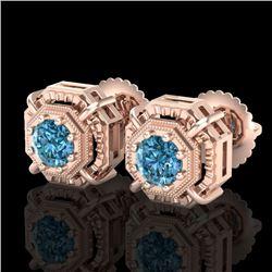 1.11 CTW Fancy Intense Blue Diamond Art Deco Stud Earrings 18K Rose Gold - REF-158N2Y - 37454