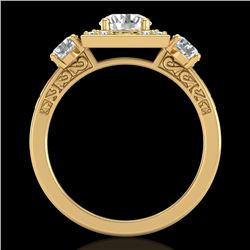 1.55 CTW VS/SI Diamond Solitaire Art Deco 3 Stone Ring 18K Yellow Gold - REF-272X8T - 37276
