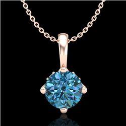 0.82 CTW Fancy Intense Blue Diamond Solitaire Art Deco Necklace 18K Rose Gold - REF-103H6A - 37804