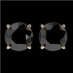 2 CTW Fancy Black VS Diamond Solitaire Stud Earrings 10K Yellow Gold - REF-40X9T - 33085