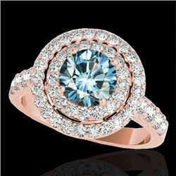 2.25 CTW Si Certified Fancy Blue Diamond Solitaire Halo Ring 10K Rose Gold - REF-218T2M - 34217