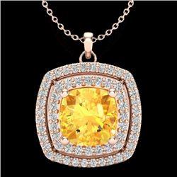 1.77 CTW Citrine & Micro Pave VS/SI Diamond Halo Necklace 14K Rose Gold - REF-50X2T - 20451