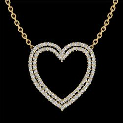 2 CTW VS/SI Diamond Double Heart Halo Designer Necklace 14K Yellow Gold - REF-134F8N - 20482
