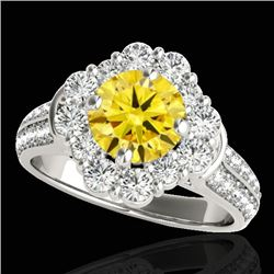 2.81 CTW Certified Si/I Fancy Intense Yellow Diamond Solitaire Halo Ring 10K White Gold - REF-361F8N
