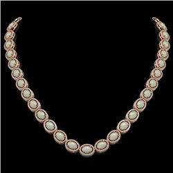 32.42 CTW Opal & Diamond Halo Necklace 10K Rose Gold - REF-670A8X - 40569