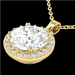 1.75 CTW Halo VS/SI Diamond Micro Pave Necklace 18K Yellow Gold - REF-477T3M - 21569
