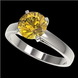 2 CTW Certified Intense Yellow SI Diamond Solitaire Engagement Ring 10K White Gold - REF-344F5N - 33