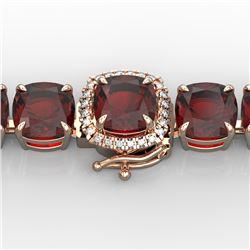 35 CTW Garnet & Micro Pave VS/SI Diamond Halo Designer Bracelet 14K Rose Gold - REF-134F2N - 23310