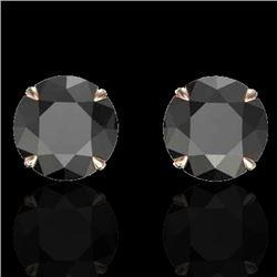 4 CTW Black VS/SI Diamond Designer Inspired Stud Earrings 14K Rose Gold - REF-125X5T - 21814