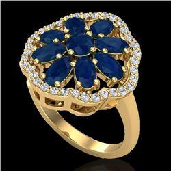 4 CTW Sapphire & VS/SI Diamond Cluster Designer Halo Ring 10K Yellow Gold - REF-60Y9K - 20787