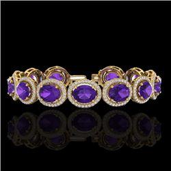 24 CTW Amethyst & Micro Pave VS/SI Diamond Bracelet 10K Yellow Gold - REF-360H2A - 22679