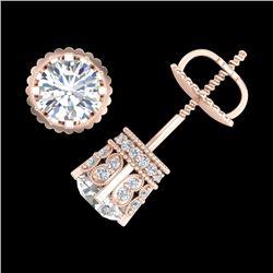 1.75 CTW VS/SI Diamond Solitaire Art Deco Stud Earrings 18K Rose Gold - REF-249A3X - 36834