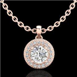 1 CTW VS/SI Diamond Solitaire Art Deco Stud Necklace 18K Rose Gold - REF-180K2W - 36966