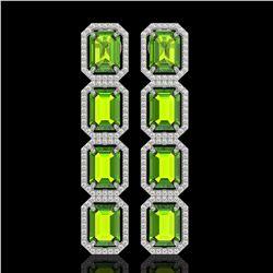 17.81 CTW Peridot & Diamond Halo Earrings 10K White Gold - REF-220Y8K - 41597