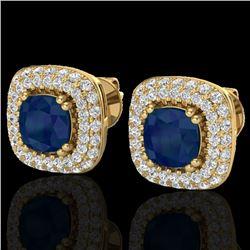 2.16 CTW Sapphire & Micro VS/SI Diamond Earrings Double Halo 18K Yellow Gold - REF-105N6Y - 20349