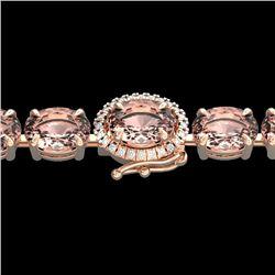 26 CTW Morganite & VS/SI Diamond Tennis Micro Halo Bracelet 14K Rose Gold - REF-285K3W - 23432