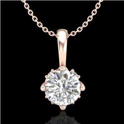 0.62 CTW VS/SI Diamond Solitaire Art Deco Stud Necklace 18K Rose Gold - REF-101Y8K - 37023