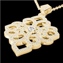1.40 CTW Micro Pave VS/SI Diamond Designer Necklace 14K Yellow Gold - REF-130H9A - 22557