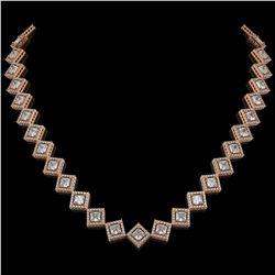 26.88 CTW Princess Cut Diamond Designer Necklace 18K Rose Gold - REF-4912N2Y - 42795