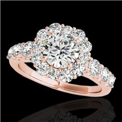 2.25 CTW H-SI/I Certified Diamond Solitaire Halo Ring 10K Rose Gold - REF-250K9W - 33383