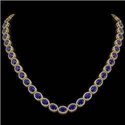 34.11 CTW Sapphire & Diamond Halo Necklace 10K Yellow Gold - REF-537X5T - 40408