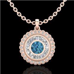 2.11 CTW Fancy Intense Blue Diamond Solitaire Art Deco Necklace 18K Rose Gold - REF-227A3X - 37916