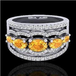 2.25 CTW Citrine & Micro Pave VS/SI Diamond Designer Ring 10K White Gold - REF-71K8W - 20798