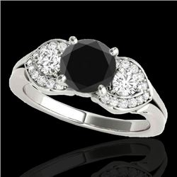 1.45 CTW Certified VS Black Diamond 3 Stone Ring 10K White Gold - REF-73T3M - 35334