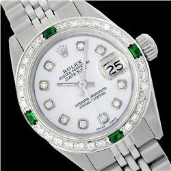 Rolex Men's Stainless Steel, QuickSet, Diam Dial & Diam/Emerald Bezel - REF-557X4Y