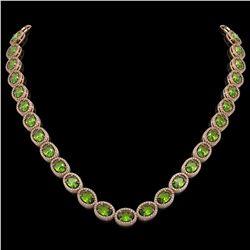 48.14 CTW Peridot & Diamond Halo Necklace 10K Rose Gold - REF-756T5M - 40581
