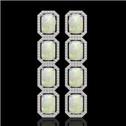 12.99 CTW Opal & Diamond Halo Earrings 10K White Gold - REF-203A3X - 41585