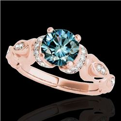 1.2 CTW Si Certified Fancy Blue Diamond Solitaire Antique Ring 10K Rose Gold - REF-161T8M - 34681